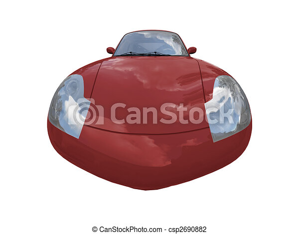 isolated red super car front view 04 - csp2690882