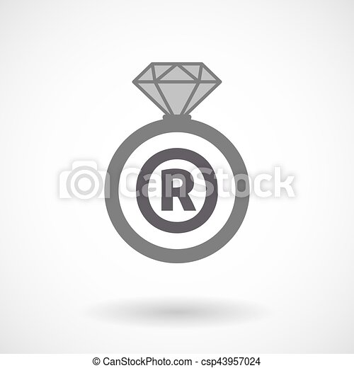 Isolated Ring With The Registered Trademark Symbol Vector