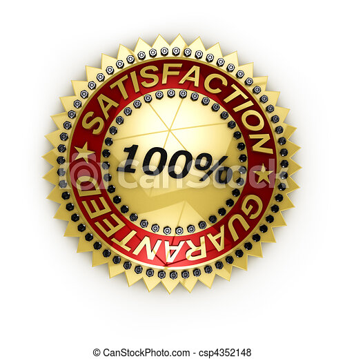 Isolated Satisfaction Guaranteed seal over white - csp4352148