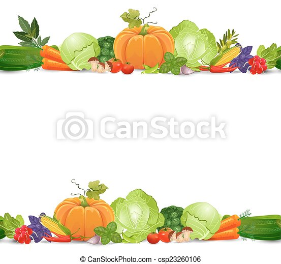 Isolated Seamless Border With Vegetables And Herbs On White Back Vector
