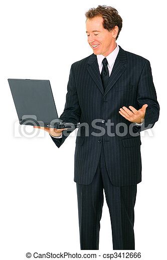 Isolated Senior Business Man Looking At Laptop And Making Hand G - csp3412666