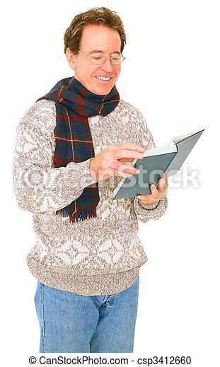 Isolated Senior Caucasian Man In Winter Suit Reading Book - csp3412660