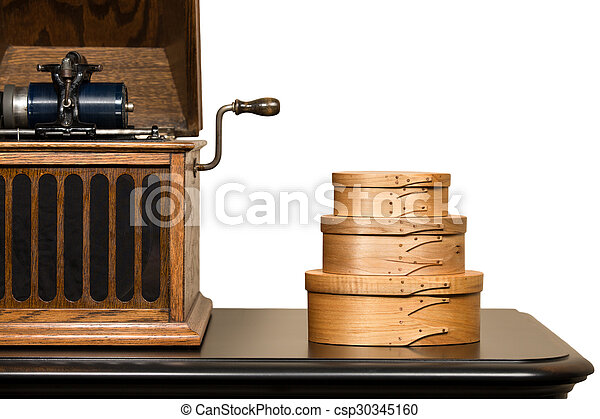 Isolated Shaker Boxes and Antique Phonograph - csp30345160