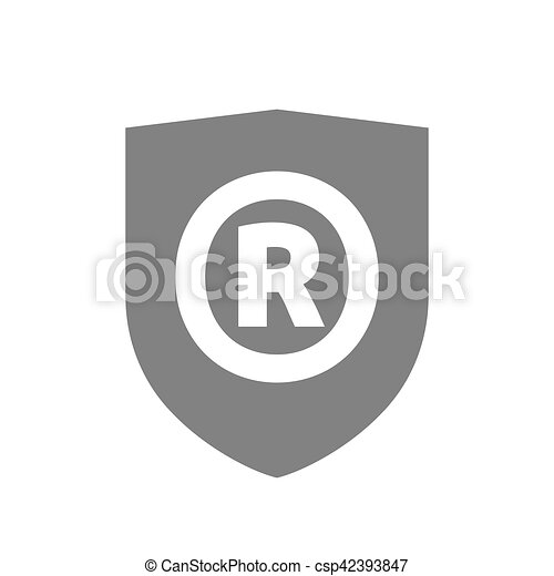 Isolated Shield With The Registered Trademark Symbol Eps Vector