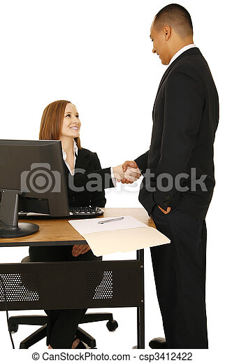 Isolated Shot Of Business People Make A Deal - csp3412422