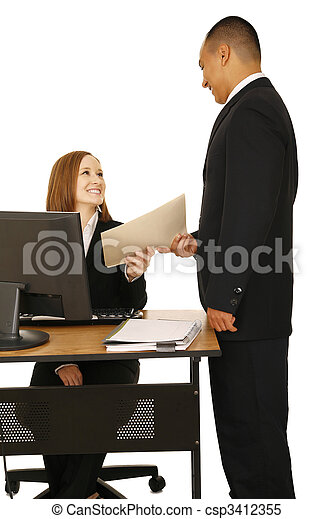 Isolated Shot Of Business Team Working - csp3412355