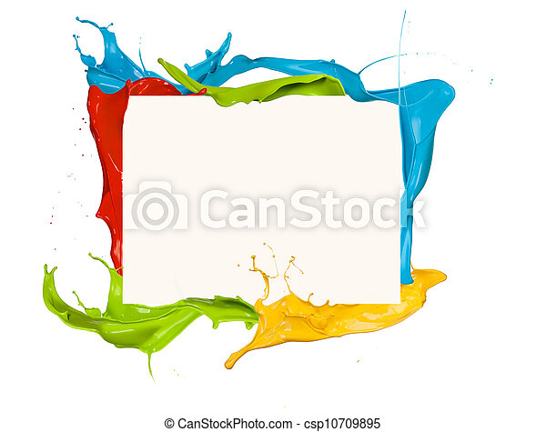 Isolated shot of colored paint frame splash on white background  - csp10709895