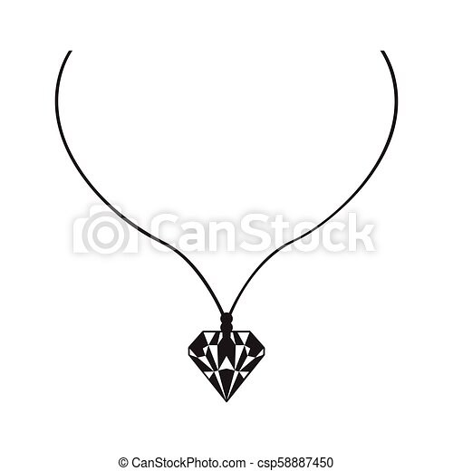 Isolated silhouette of a necklace - csp58887450
