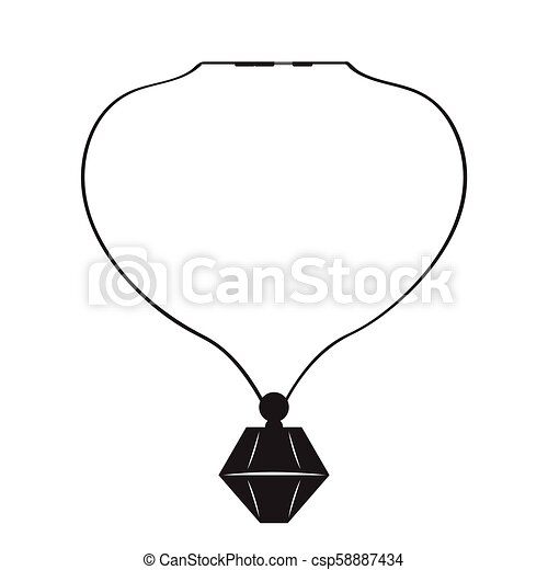 Isolated silhouette of a necklace - csp58887434