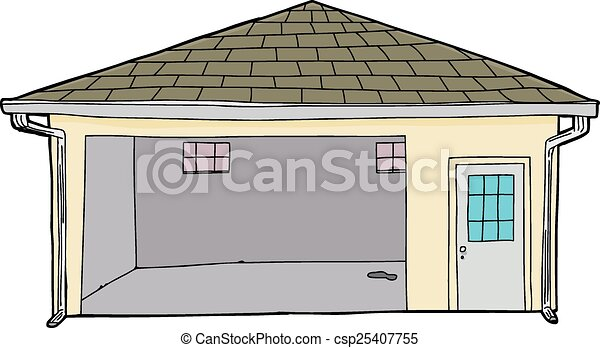 Isolated single open garage single cartoon garage with for Garage sprint auto stains