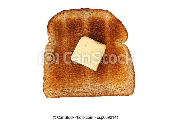 a isolated slice of toast with butter