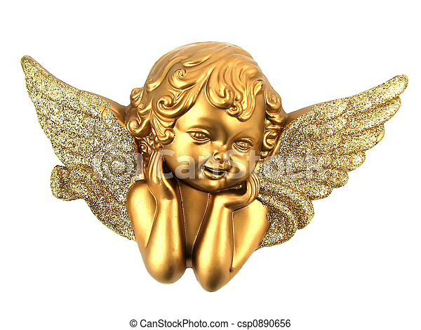 Isolated Small Angel Small Gold Angel Isolated On White
