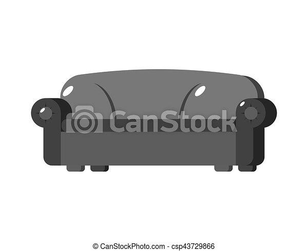 isolated., sofa, couch, groß, schwarzer hintergrund, groß, weißes, weich - csp43729866