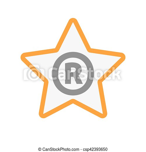 Isolated Star Icon With The Registered Trademark Symbol Clipart