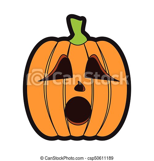 Isolated surprised jack o lantern on a white background for Surprised pumpkin face