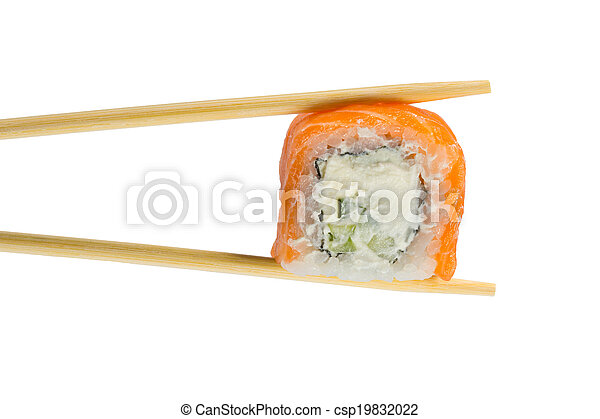 Isolated sushi roll in chopsticks. Macro. - csp19832022