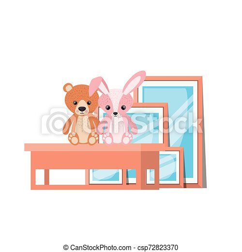 Isolated teddy bear and rabbit design - csp72823370