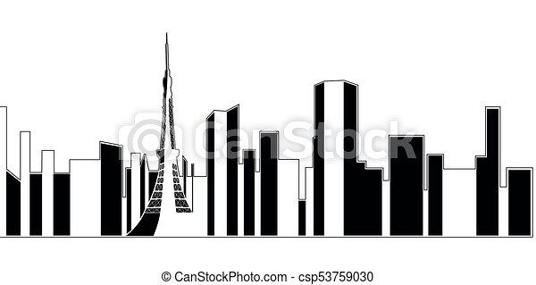 isolated tokyo cityscape cityscape of tokyo on a white vectors rh canstockphoto ca cityscape vector colorful cityscape vector art