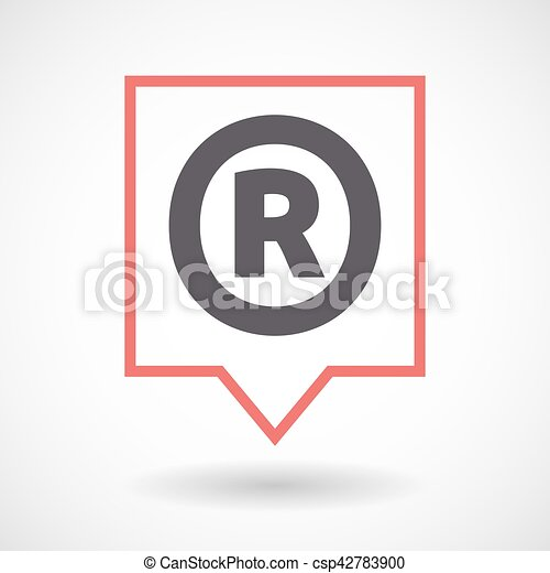 Isolated Tooltip With The Registered Trademark Symbol Vector
