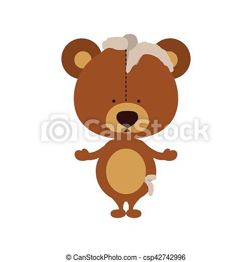 Isolated toy teddy bear damaged design - csp42742996