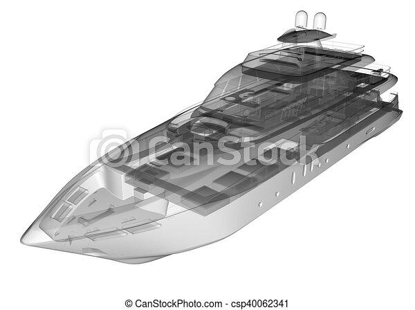Isolated Transparent Luxury Yacht Stock Illustration
