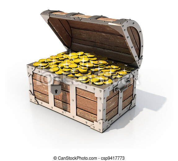 isolated treasure chest  - csp9417773