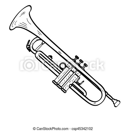 isolated trumpet outline isolated outline of a trumpet vector rh canstockphoto com Trumpet Clip Art Outline SVG Trumpet Players Clip Art Transparent