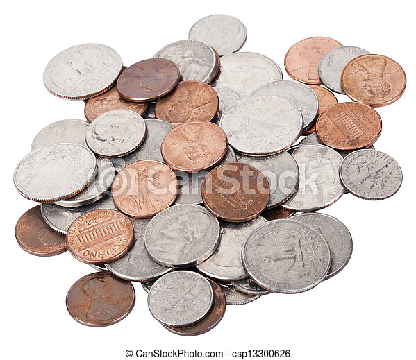 Isolated US Coins Pile - csp13300626