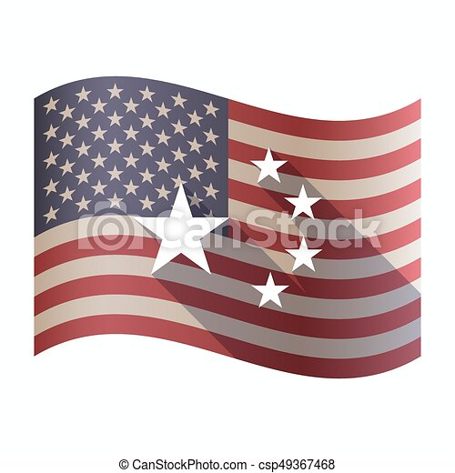 Isolated Usa Flag With The Five Stars China Flag Symbol