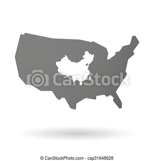 Isolated Usa Vector Map Icon With A Map Of China