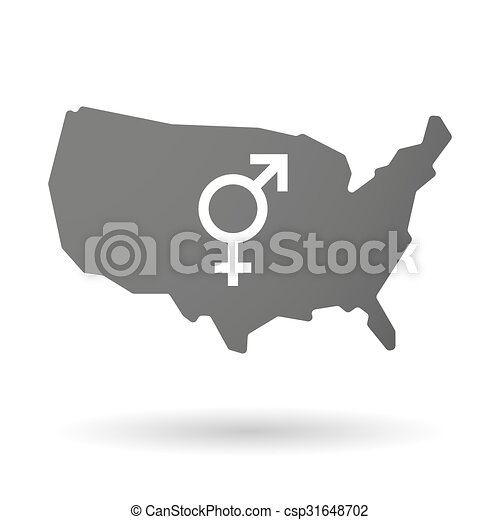 isolated usa vector map icon with a transgender symbol