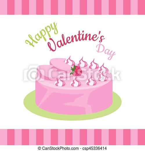 Feliz pastel de San Valentín con fresas aisladas. - csp45336414