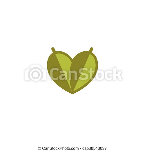 Isolated vector green logo. Simple flat logotype. Leaves icon. Heart abstract natural symbol. Vegetarian land eco agricultural logo. Save ecology sign. Floral icon. - csp38543037
