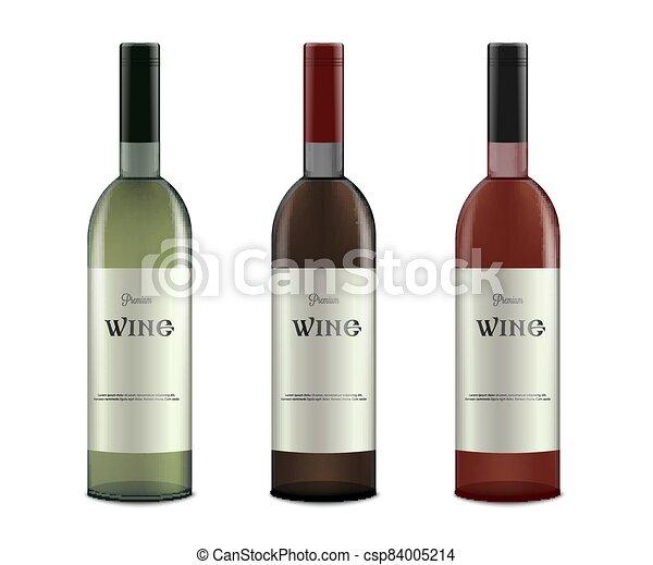 isolated., vector, realista, botellas, alcohol, etiquetas, conjunto, vino, mockup - csp84005214
