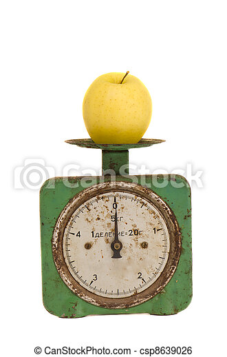 isolated vintage and grunge scale with apple - csp8639026