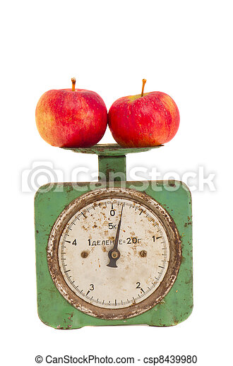 isolated vintage and grunge scale with apples - csp8439980