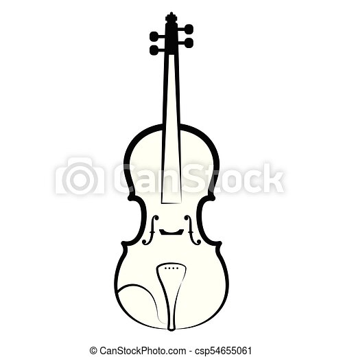 Isolated Violin Outline Musical Instrument Vector Illustration