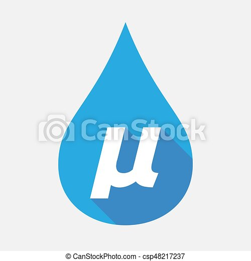Isolated Water Drop With A Micro Sign Mu Greek Letter Illustration