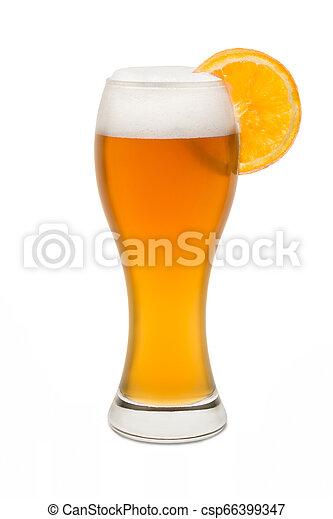 Isolated Wheat Beer, with Orange Slice #1 - csp66399347