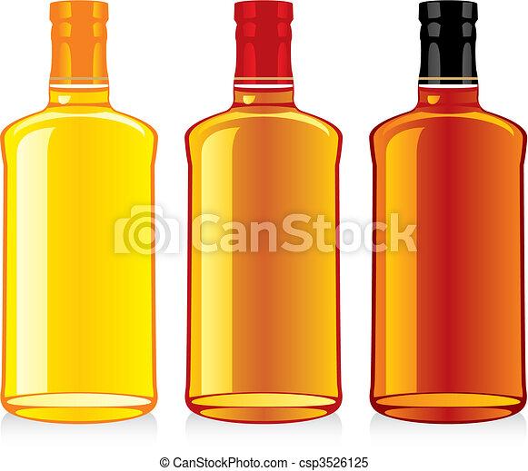 isolated whiskey bottles - csp3526125