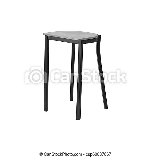 Isolated wooden stool on white background - csp60087867