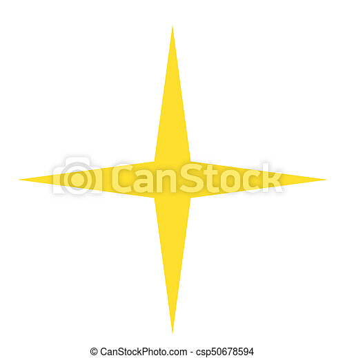 Isolated Yellow Gold Star Icon Ranking Mark With Four Rays Modern