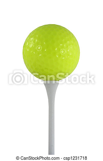 Isolated yellow golf ball on a white tee - csp1231718