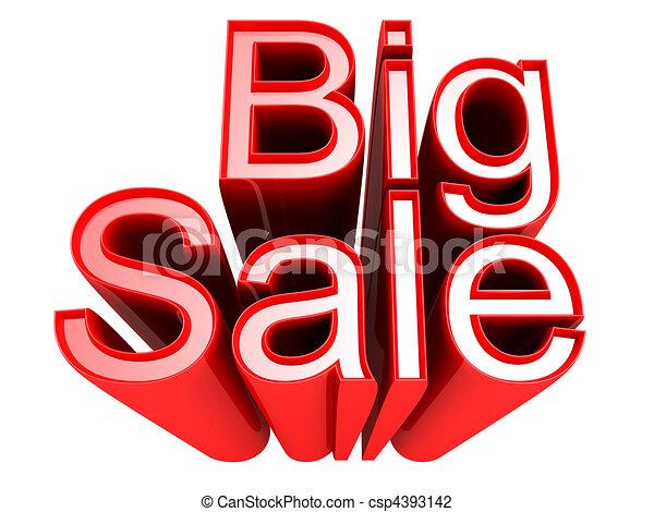 isolato, grande, vendita, illustrazione, segno, promozione, 3d - csp4393142