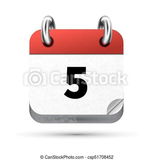 Calendario Icona.Isolato Realistico Luminoso 5 Data Calendario Bianco Icona