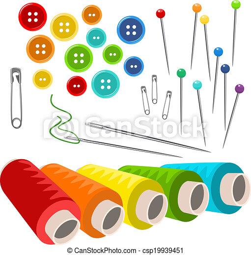 isolato, vettore, cucito, accessori, bianco - csp19939451