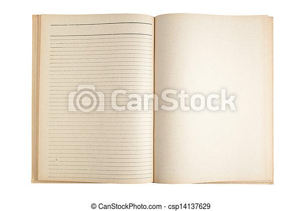 isolato, vuoto, aperto, blocco note, bianco - csp14137629