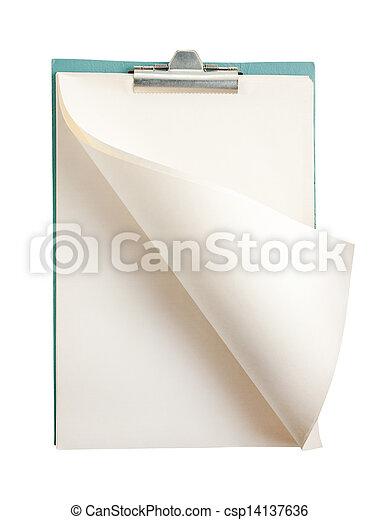 isolato, vuoto, aperto, blocco note, bianco - csp14137636