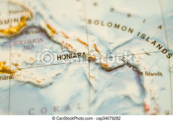 isole, solomon, paese, mappa - csp34079282