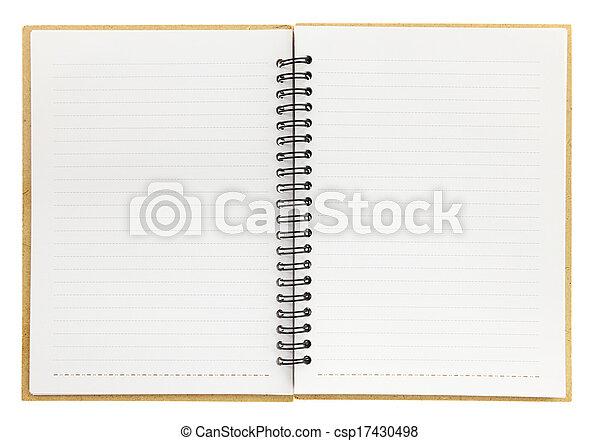 isolerat, spiral anteckningsbok, tom, vit, öppna - csp17430498